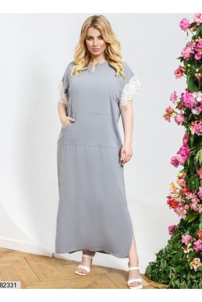 Сіра практична сукня максі з мереживом