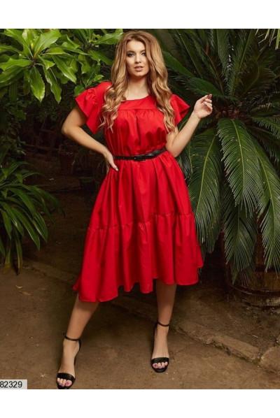 Червона промениста сукня для жінок з пишними формами