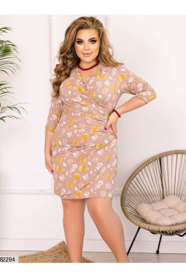 Коричнева розкішна принтована сукня міні