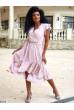 Пудрова розкішна жіноча сукня з воланом