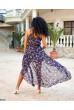 Синя лаконічна квіткова сукня з поясом