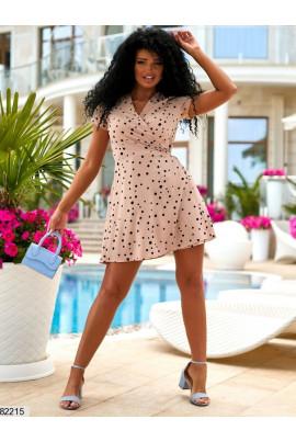 Бежева стильна літня сукня міні