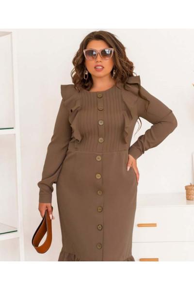 Привабливе плаття для повних жінок кольору какао