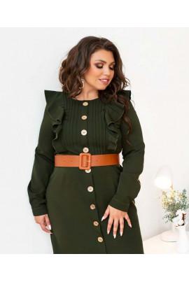 Стильна сукня для повних жінок кольору хакі