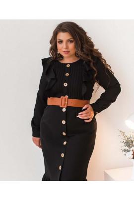 Чорне плаття великих розмірів з оборками