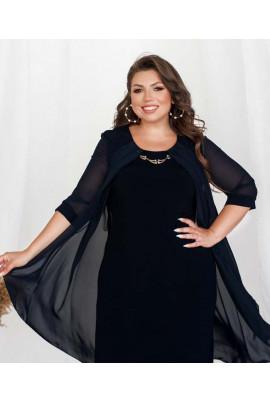 Темно-синє привабливе плаття з накидкою