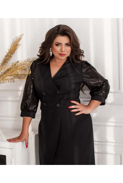 Чорне вишукане плаття міді в стилі двобортного піджака