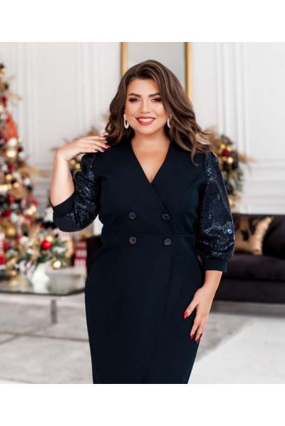 Темно-синє гармонійне плаття великих розмірів