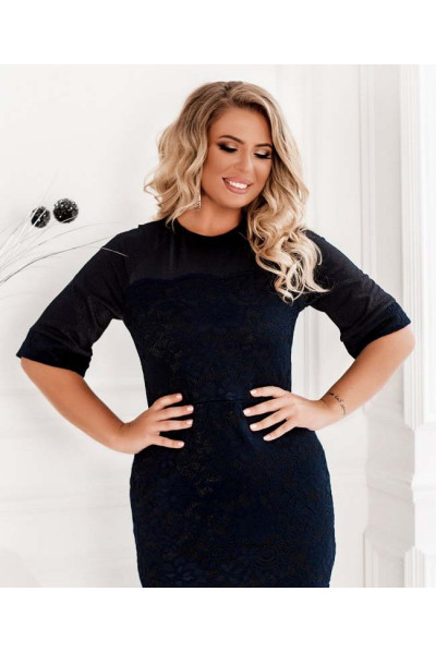 Темно-синє привабливе плаття з гіпюром для жінок з пишними формами