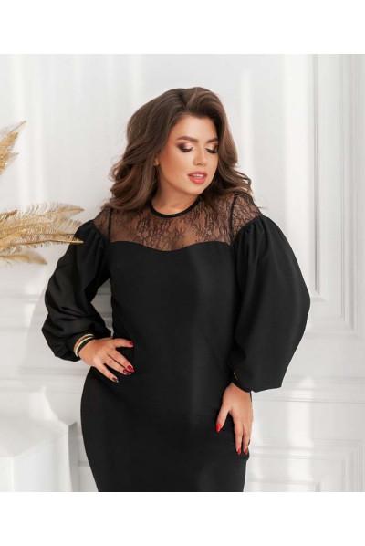 Чорне лаконічне жіноче плаття з мереживом для повних жінок