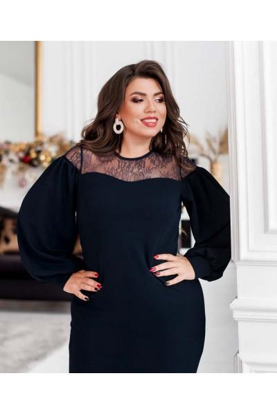Темно-синє шикарне плаття міді для жінок з пишними формами