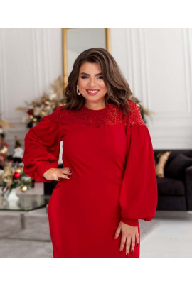 Червоне елегантне плаття міді з мереживом і паєтками