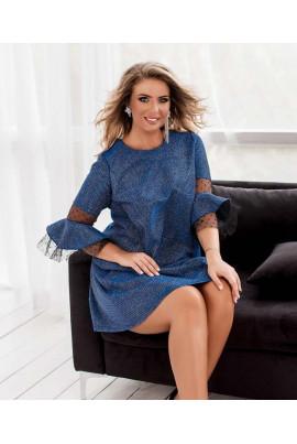 Синє гламурне плаття з ажурною сіткою для повних жінок