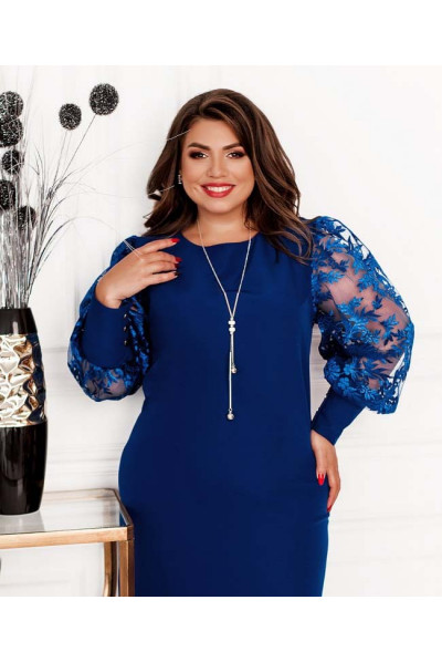 Синє ошатне плаття для жінок з апетитними формами