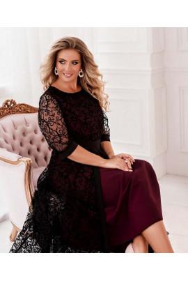 Бордове ошатне розкішне плаття максі з гіпюром