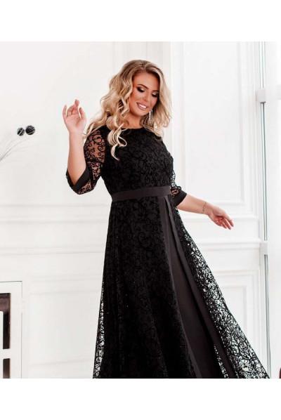 Чорне вечірнє плаття максі для жінок з пишними формами
