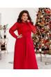 Червоне ефектне плаття максі з гіпюром для повних жінок