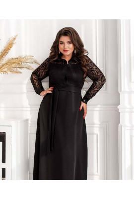 Чорне вишукане плаття максі для повних жінок