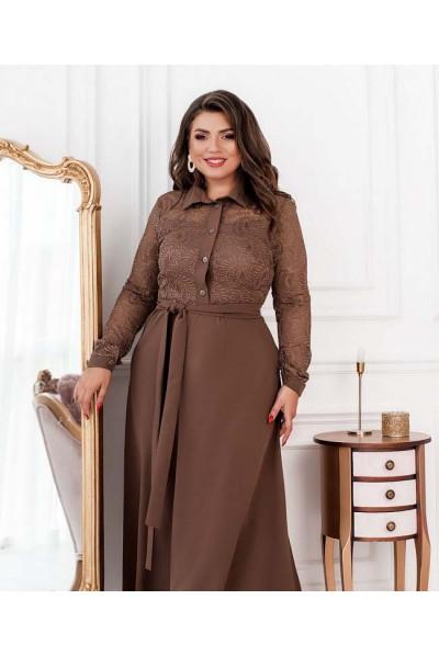 Шикарне довге плаття з гіпюром кольору мокко
