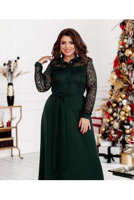 Темно-зелене довге ефектне плаття великих розмірів