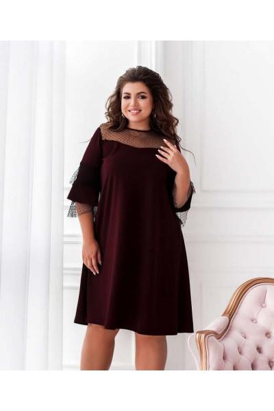 Розкішне плаття кольору марсала для повних жінок