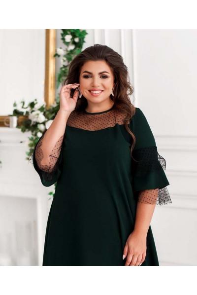 Темно-зелене привабливе плаття для жінок з апетитними формами