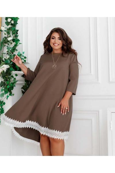 Гламурне жіноче плаття кольору капучіно для повних жінок