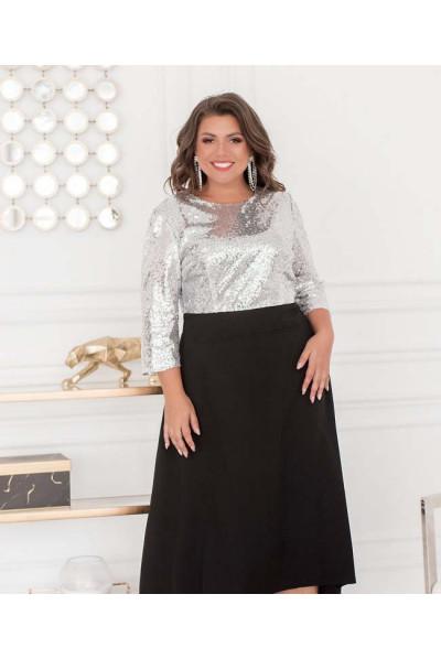 Ефектне плаття срібно-чорного кольору великих розмірів