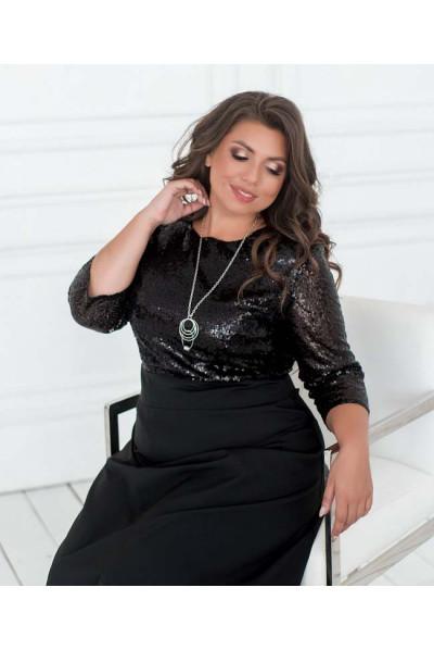Чорне довге плаття з паєтками для повних жінок