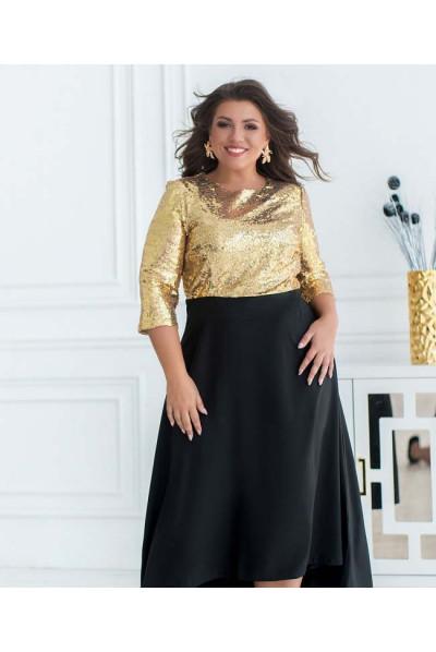 Золотисто-чорне розкішне плаття для жінок з апетитними формами