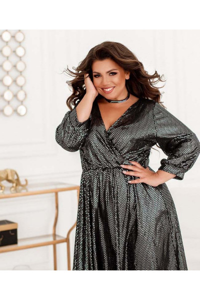 Чорне розкішне плаття міді з люрексом для повних жінок