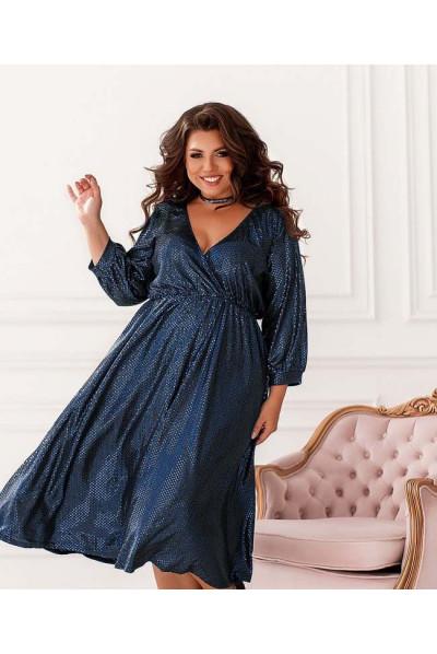 Синє гламурне плаття міді для жінок з пишними формами
