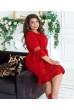 Червоне яскраве плаття з мереживом для жінок з апетитними формами