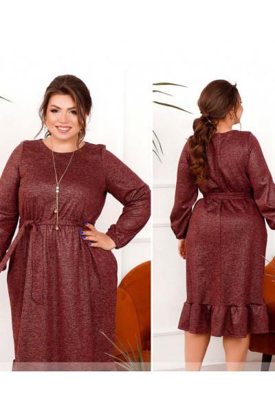 Бордове оригінальне м'яке плаття з кишенями