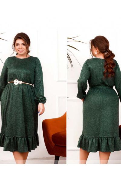 Смарагдове яскраве мінімалістичне плаття з люрексом