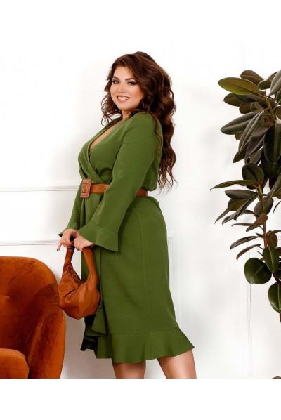 Оливкове вишукане привабливе плаття для повних жінок