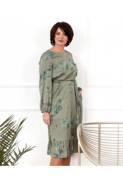 Сіре витончене шовкове плаття з ніжним принтом