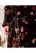 Чорне розкішне плаття міді з яскравим квітковим принтом
