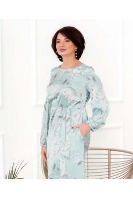 Блакитне романтичне плаття з напівматового шовку