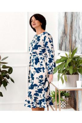 Біле практичне плаття з яскравим принтом для повних жінок