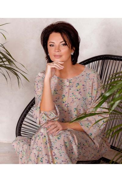 Пудрове жіноче плаття максі з дрібним принтом