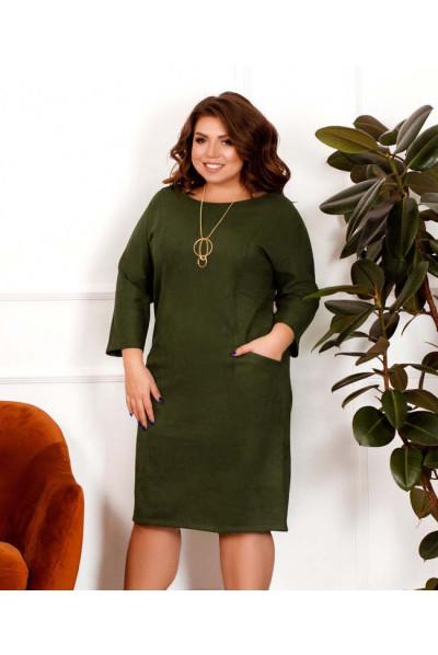 Замшеве мінімалістичне плаття кольору хакі
