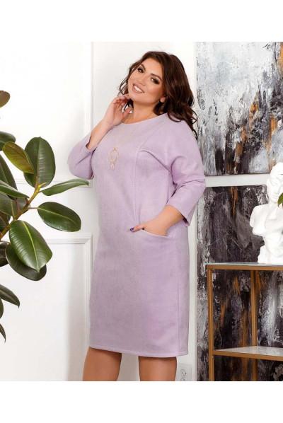 Лілове замшеве елегантне плаття для повних жінок