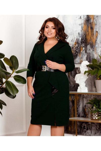 Зелене однотонне сучасне плаття для повних жінок
