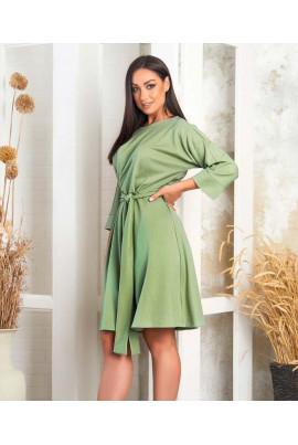 Оливкове актуальне жіноче плаття з поясом