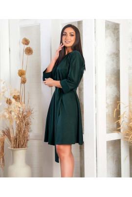 Темно-зелене елегантне плаття з напиленням