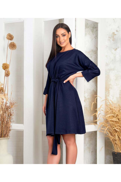 Темно-синє однотонне плаття міді великих розмірів