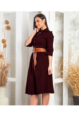 Бордове повсякденне плаття міді з кишенями