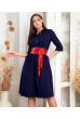Синя джинсова сукня міді для жінок з апетитними формами