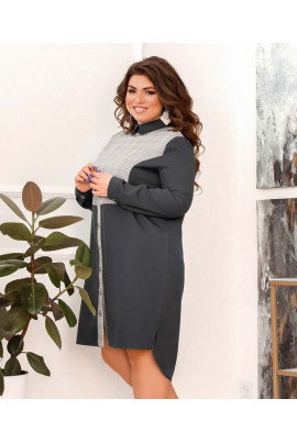 Сіра повсякденна універсальна сукня міді великих розмірів